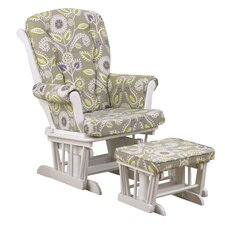 Periwinkle Floral Glider with Ottoman