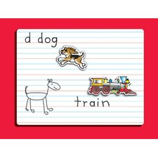 Dry Erase Lined Graphic Wall Mounted Whiteboard, 1' H x 1' W (Set of 2)