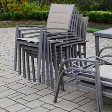 Padded Sling Stacking Dining Arm Chair (Set of 4)