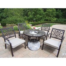 Stone Art 5 Piece Fire Pit Seating Group with Cushions