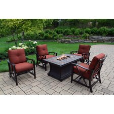Vienna 5 Piece Fire Pit Seating Group with Cushion