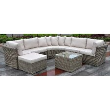Borneo Modular All Weather Resin Wicker Circular Sectional Zipper 7 Piece Deep Seating Group with Cushion