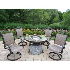 Stone Art 5 Piece Fire Pit Seating Group with Cushion