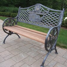 God Bless America Wood and Aluminum Park Bench