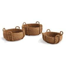 Seagrass Woven 3 Piece Low Basket Set