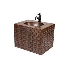 "18"" Single Hand Hammered Copper Wall Mount Bathroom Vanity Set"