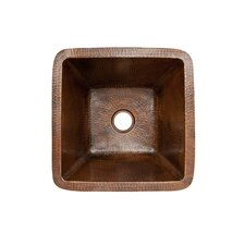 "15"" x 15"" Square Hammered Copper Bar Sink"