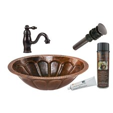 Sunburst Oval Under Counter Copper Sink with Single Handle Faucet and Drain