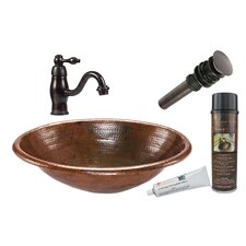 Oval Self Rimming Sink with Single Handle Faucet and Drain