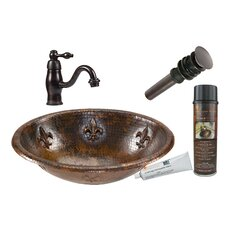 Fleur De Lis Oval Self Rimming Sink with Single Handle Faucet and Drain