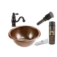 Small Round Self Rimming Sink with Single Handle Faucet and Drain