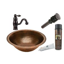 Round Under Counter Sink with Single Handle Faucet and Drain