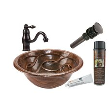 Braided Round Self Rimming Sink with Single Handle Faucet and Drain