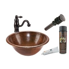 Round Self Rimming Sink with Single Handle Faucet and Drain