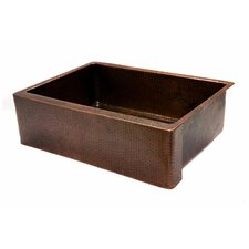 "30"" x 22"" Hammered Single Bowl Farmhouse Kitchen Sink"