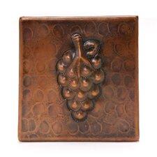 """4"""" x 4"""" Copper Grape Tile in Oil Rubbed Bronze"""
