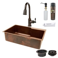 "33"" x 22"" Hammered Single Basin Kitchen Sink with Faucet with ORB Pull Down Faucet, Drain and Accessories"