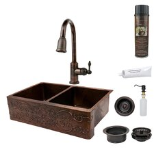 "33"" x 22"" Hammered Apron Double Basin Kitchen Sink with ORB Pull Down Faucet, Drain and Accessories"