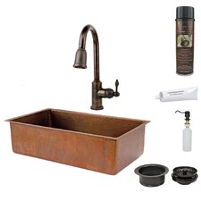 Hammered Single Basin Kitchen Sink with ORB Pull Down Faucet, Drain and Accessories
