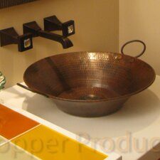 Round Miners Pan Hammered Copper Vessel Bathroom Sink