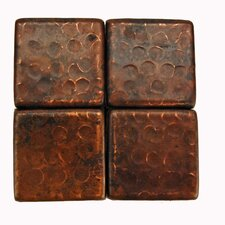 "2"" x 2"" Hammered Copper Tile in Oil Rubbed Bronze"