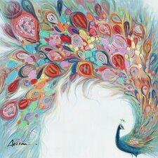 Revealed Artwork Peacock Flourish Original Painting Wrapped Canvas