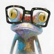 Revealed Artwork Hipster Froggy I Original Painting on Wrapped Canvas