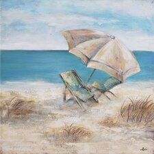 Umbrella and Beach Chair Painting on Wrapped Canvas
