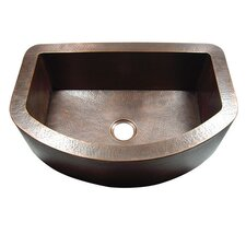 "33"" x 22"" Hammered Single Bowl Curved Farmhouse Kitchen Sink"