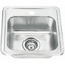 "15"" x 15"" Topmount Single Bowl Bar Sink"