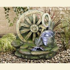 Wagon Wheel with Bucket Fountain