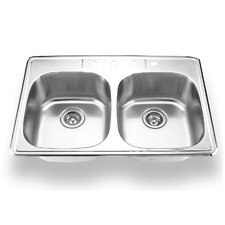 "33"" x 22"" Topmount Double Bowl Kitchen Sink"