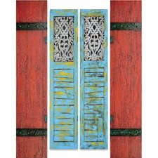 New Revealed Art Shutters 4 Piece Original Painting on Wrapped Canvas Set