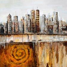 Revealed Art Urban Skyline Original Painting on Wrapped Canvas