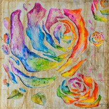 Revealed Artwork Colored Roses I Original Painting on Wrapped Canvas