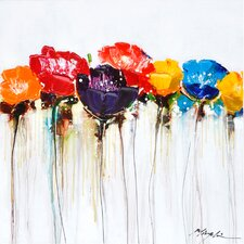 Revealed Artwork Jeweled Poppies I Original Painting on Wrapped Canvas