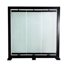 "74"" H x 73"" W Crackled Glass 3 Panel Room Divider"