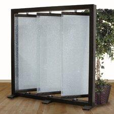 """74"""" H x 73"""" W Crackled Glass 3 Panel Room Divider"""