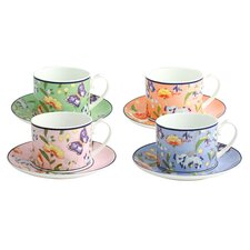 Cottage Garden Classic 8 Piece Bone China Cup and Saucer Set
