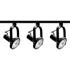 Three Light Gimbal Ring Track Light Kit in Black