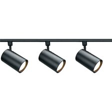 Three Light Straight Cylinder Track Light Kit in Black
