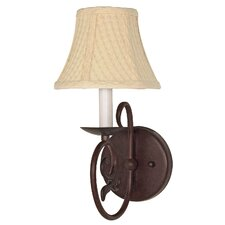 Tapas 1 Light Wall Sconce with Linen Shade