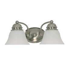 Empire Vanity Light with Alabaster Glass in Brushed Nickel