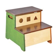 See and Store 2-Step Birch Wood Step Stool