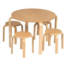 Natural Nordic Kids 5 Piece Table and Stool Set