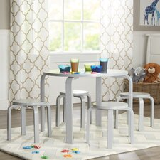 Nordic Kids' 5 Piece Round Table and Stool Set