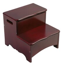 Classic Espresso 2-Step Manufactured Wood Storage Step Stool with 100 lb. Load Capacity