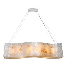 Big Sustainable Shell Linear Six Light Pendant with Kabebe