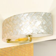 Radius Natural Herringbone Capiz Two Light Bath Fixture in Gold Dust