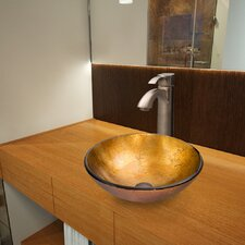 Liquid Gold Glass Vessel Bathroom Sink and Otis Vessel Faucet with Pop Up